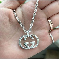 GUCCI Fashion Couple Double G Pendant Necklace Simple Collarbone Chain Silvery Accessories Jewelry
