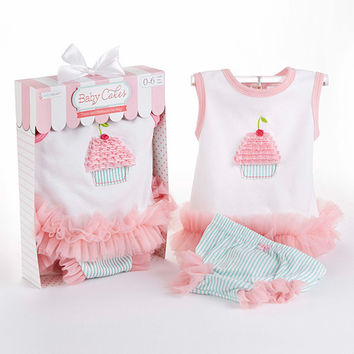 "Baby Aspen ""Baby Cakes"" 2-Piece Cupcake Outfit"