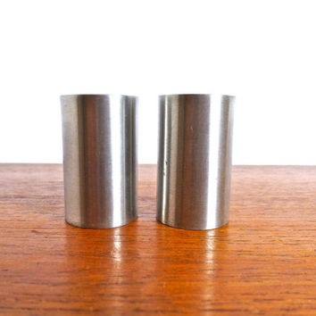 Vintage Stelton Cylinda Salt and Pepper Set by Arne Jacobsen