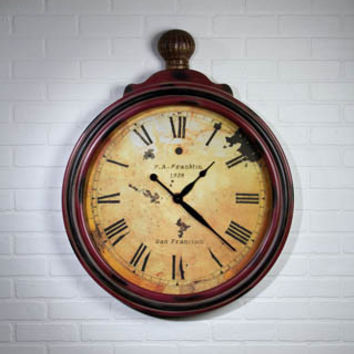 GIANT AGED POCKET WATCH CLOCK