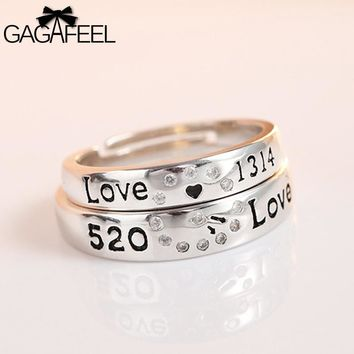 GAGAFEEL 100% Genuine 925 Sterling Silver Ring For Lover Couple Men Trendy Adjustable Design With Letter To Propose Party
