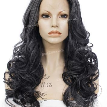 """24"""" Heat Safe Synthetic Wig Lace Front """"Rani"""" with Curly Texture in Deep Space Gray"""