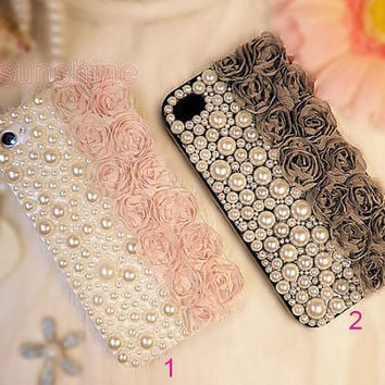 iphone 4 case cover-iphone 5 case- iphone 5 case cover-bling pearl lace 3D iphone 5 case crystal iphone4 case- iphone 4 case