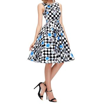 New Womens Summer Dress Elegant Vintage Pinup Rockabilly Print Sleeveless Casual Party Wiggle Swing Dresses Flower & Plaid