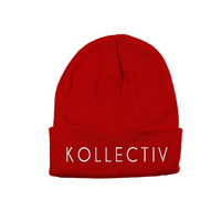 "Kollectiv ""Wordmark"" Unisex Knit Beanie 12"" Fold  (Red/Wht)"