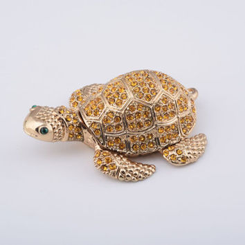 Golden Turtle Faberge Styled Trinket Box Handmade by Keren Kopal Enamel Painted Decorated with Swarovski Crystals