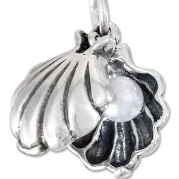 Sterling Silver Moveable Oyster Shell Charm With Faux Pearl Inside