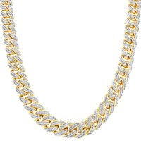Iced Out 14k Gold Finish Choker Cuban Link Necklace
