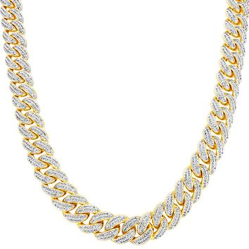 "Men's 14mm 24"" Designer Iced Out Miami Cuban Necklace"
