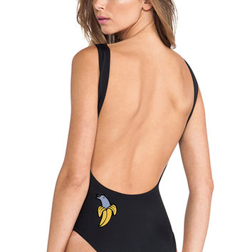 Dolphin and Banana Black One Piece Swimsuit