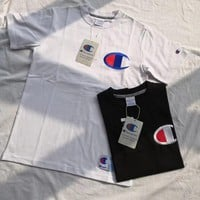 champion embroidery big logo short sleeve t shirt