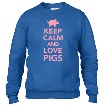 Keep calm and love Pigs Crewneck sweatshirt