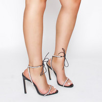 Korra Black Patent Diamante Barely There Lace Up Heels : Simmi Shoes