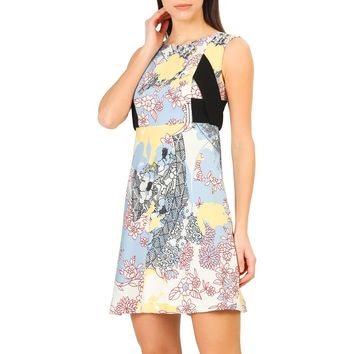 Annarita Yellow Round Neck Sleeveless Floral Print Day Dress