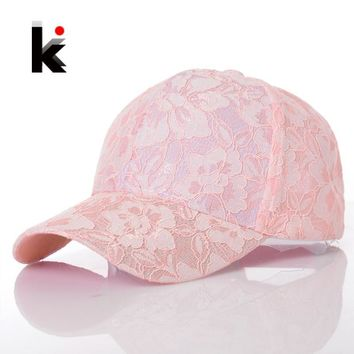Women's Baseball Caps Lace Sun Hats Breathable Mesh Hat Gorras Summer Cap For Women Snapback Casquette