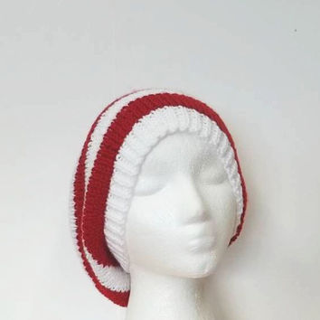 Slouchy beanie hat red white stripes oversized beanie large   5204