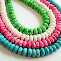 Pink /Green/White/Blue Rondelle Magnesite Beads 9mm 16 Inch Strand / Pick Your Color