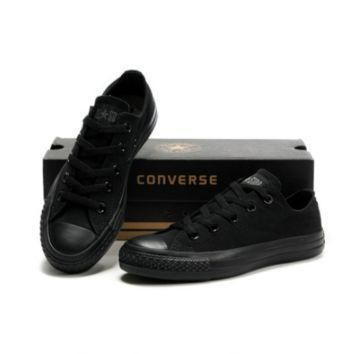 all black converse fashion canvas flats sneakers sport shoes