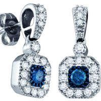 Blue Diamond Fashion Earrings in 10k White Gold 0.66 ctw