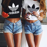 """Adidas"" Sexy  Print Letter Short Shirt Crop Tops"