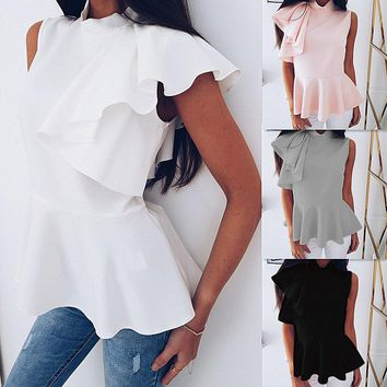 Irregular Flounced Sleeveless Shirt