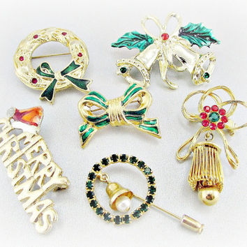 Vintage Brooch Lot, Gold Christmas Brooch Pins, Enamel Rhinestone Brooches, Wreath Bell Bow Brooches, Estate Costume Jewelry Destash Lot