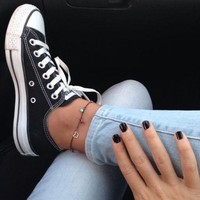 """""""Converse"""" Fashion Casual Canvas Flats Sneakers Sport Shoes Black G"""