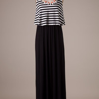 Black and White Striped Maxi Dress with Necklace