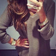 Grey V-Neck Long Sleeve  Knitted Top