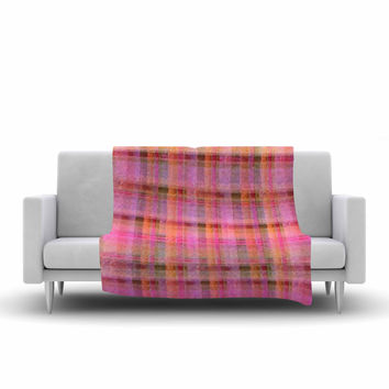 "Carolyn Greifeld ""Watercolor Pink Plaid"" Yellow Pattern Fleece Throw Blanket"