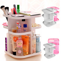 Portable Makeup Cosmetic Rotating Organizer Case Jewelry Storage Display Rack Pink/White