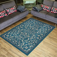 "Conur Collection Floral Scroll Area Rug Rugs Modern Contemporary Traditional Area Rug Rugs Veronica 3 Color Options (Petrol Blue, 4'11"" x 6'11"")"