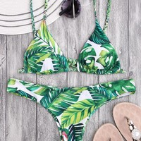 Braided Straps Leaf Print Thong Bikini