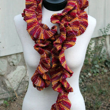 Hand Knit Scarf - ruffle pattern in a great color combo