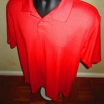 Large Mens cinnamon upcycled VanHeusen Studio polo.  Mens modern short-sleeve classic.  Like new, prewashed, cotton and polyester, soft.