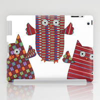 3 Red Owls Flying iPad Case by Erin Brie Art
