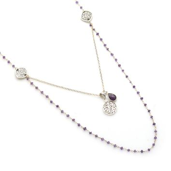 Amethyst Rosary Chain and Amethyst Teardrop Sterling Silver Necklace