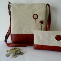 Classy linen and faux leather tote with matching clutch, cosmetic bag in warm, autumn clours