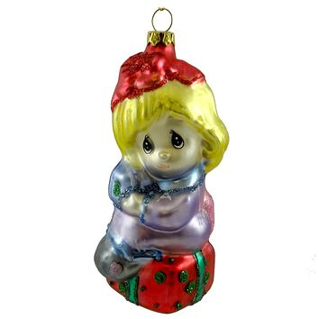 Precious Moments GIRL WITH PACKAGES Glass Christmas Ornament 712019