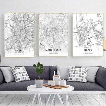 Modern Famous World City Map Madrid Manchester Mecca City Poster Nordic Living Room Wall Art Picture Home Canvas Painting