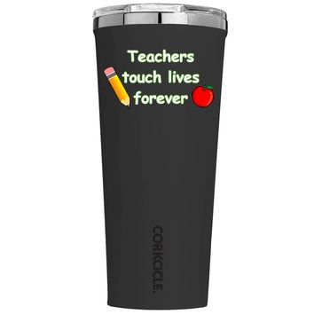 Corkcicle Teachers Touch Lives Forever on Black 24 oz Tumbler Cup