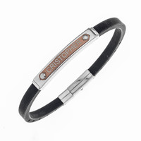 MENS NAME BRACELET THIN- STEEL AND RUBBER