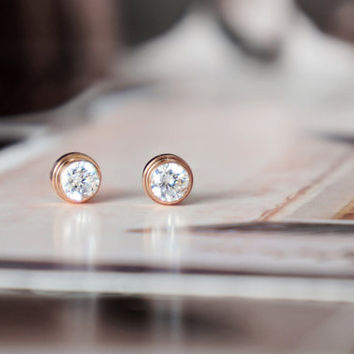Crystal stud earrings - rose gold titanium