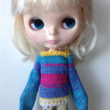 Neo Blythe Extra Long Sleeve Knit Sweater, Colorful Blythe Knit Sweater, Knit Blythe Sweater, Knit Sweater,