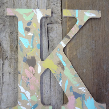 Letter K Rustic Chic Wooden distressed paint chip wood letter