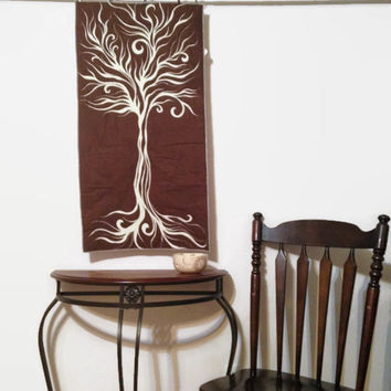 Tree Wall Hanging Tapestry Quilted Brown Nature Art Decor