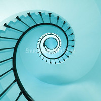 Spiral Staircase Photography Print Fine Art ~ Lighthouse Photography ~ Blue Turquoise Aqua Teal ~ Beach Photography ~ Minimalist Modern Art