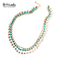Artilady natural stone 3 layer necklace boho style beads chain necklace gold color women jewelry gift party dropshipping-in Chain Necklaces from Jewelry & Accessories on Aliexpress.com | Alibaba Group