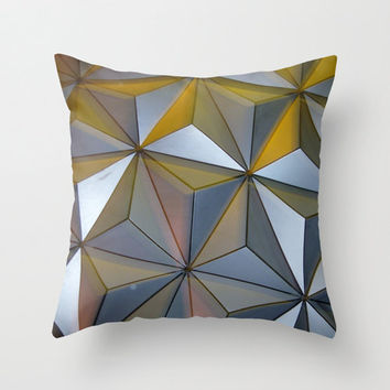 Epcot Ball Geometric Pillow Cover, Triangle Pillow, Silver Pillow, Photo Pillow Case, Disney World Pillow,16X16 Pillow Cover 18X18, Modern