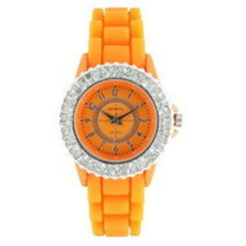 Classic Small Round Face Silicone Watch w/ Crystal Accents - Orange